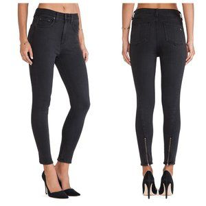 Rag & Bone Justine Zipper Skinny Jeans Black Grey